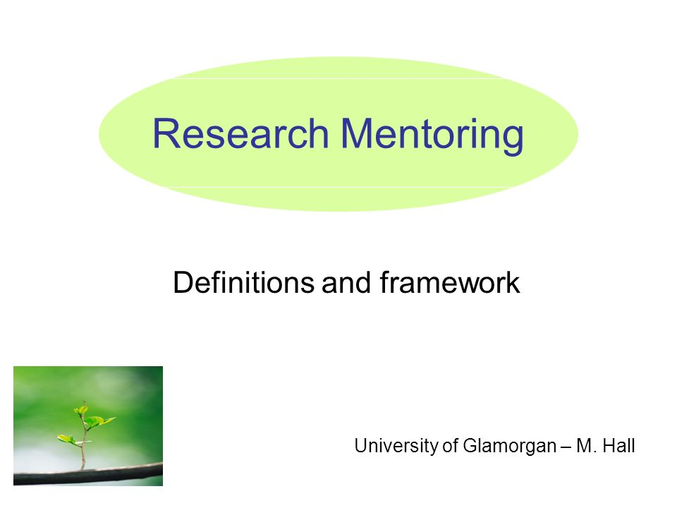 Research Mentoring Definitions and framework University of Glamorgan – M. Hall