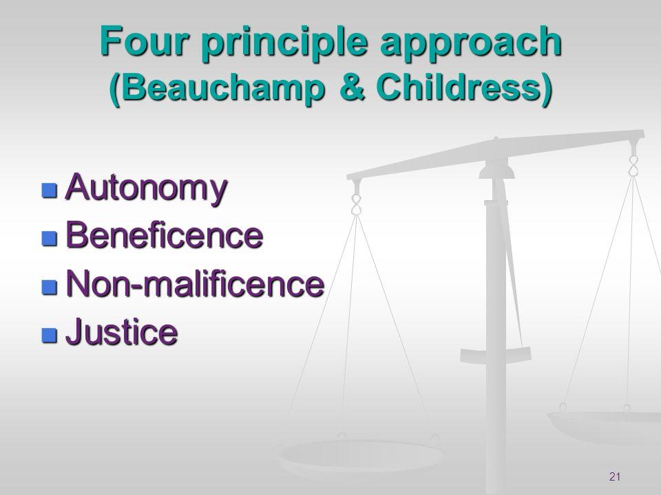 21 Four principle approach (Beauchamp & Childress) Autonomy Autonomy Beneficence Beneficence Non-malificence Non-malificence Justice Justice
