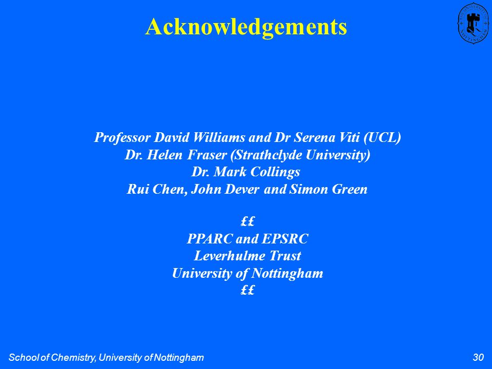 School of Chemistry, University of Nottingham 30 Acknowledgements Professor David Williams and Dr Serena Viti (UCL) Dr.