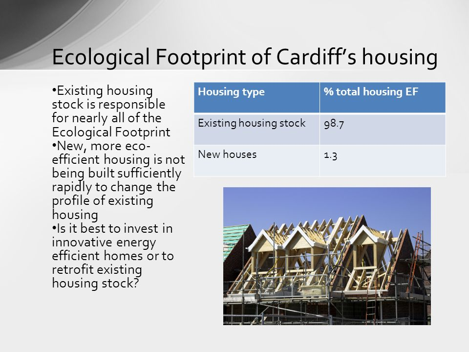 Ecological Footprint of Cardiffs housing Existing housing stock is responsible for nearly all of the Ecological Footprint New, more eco- efficient hou