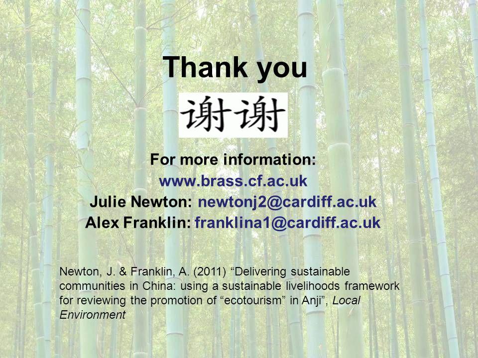 Thank you For more information: www.brass.cf.ac.uk Julie Newton: newtonj2@cardiff.ac.uk Alex Franklin: franklina1@cardiff.ac.uk Newton, J. & Franklin,
