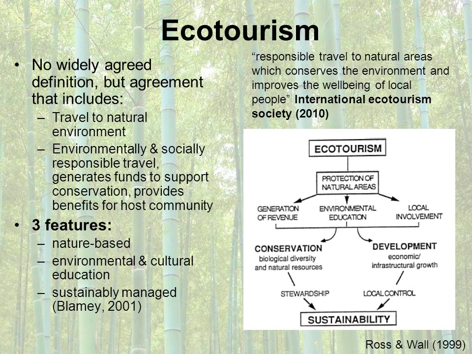 Ecotourism No widely agreed definition, but agreement that includes: –Travel to natural environment –Environmentally & socially responsible travel, ge
