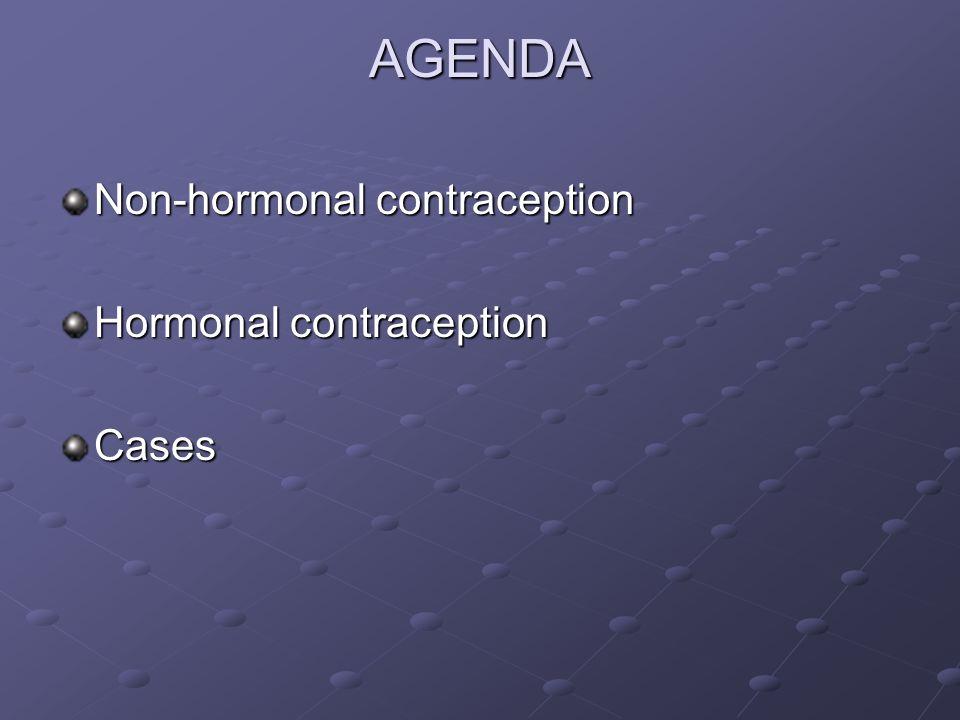 AGENDA Non-hormonal contraception Hormonal contraception Cases