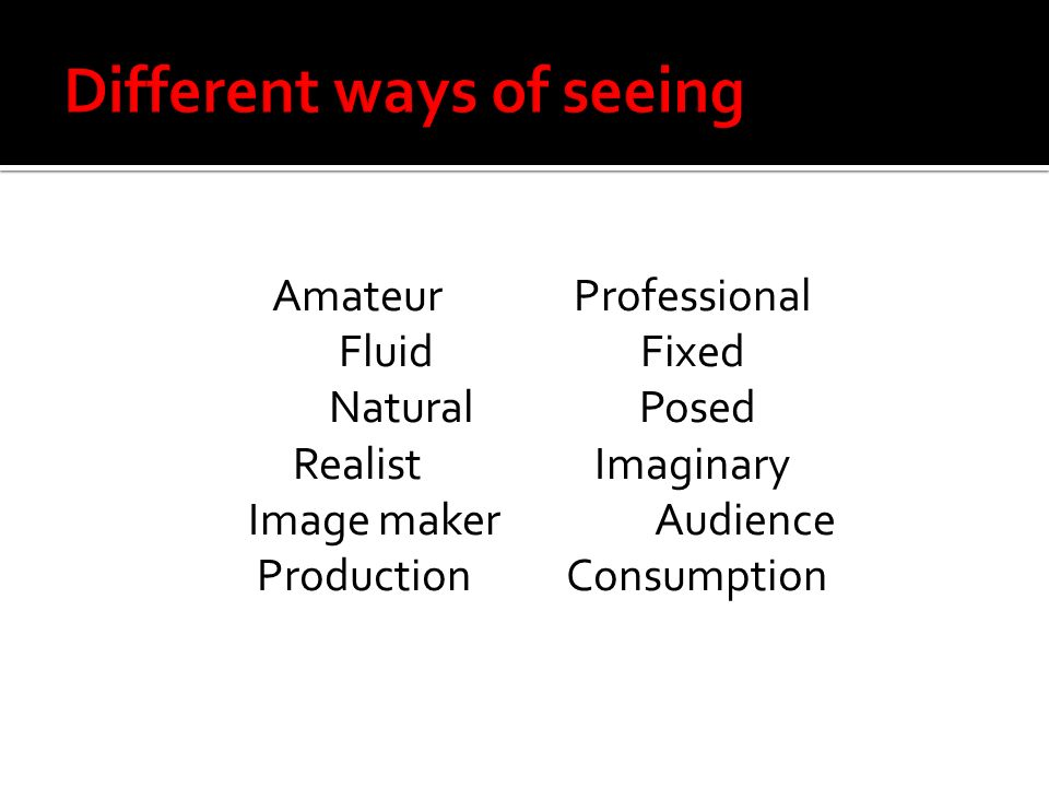 AmateurProfessional FluidFixed Natural Posed RealistImaginary Image makerAudience Production Consumption