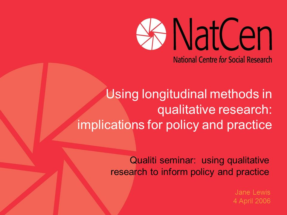 Qualiti seminar: using qualitative research to inform policy and practice Using longitudinal methods in qualitative research: implications for policy and practice Jane Lewis 4 April 2006