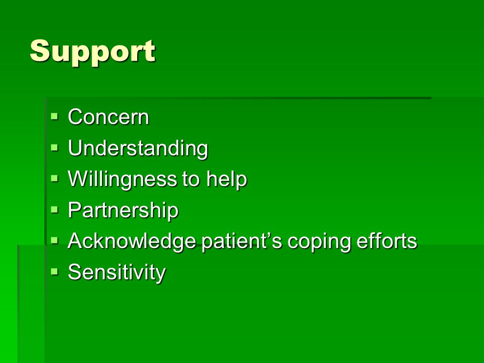 Support Concern Concern Understanding Understanding Willingness to help Willingness to help Partnership Partnership Acknowledge patients coping efforts Acknowledge patients coping efforts Sensitivity Sensitivity