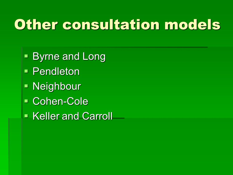 Other consultation models Byrne and Long Byrne and Long Pendleton Pendleton Neighbour Neighbour Cohen-Cole Cohen-Cole Keller and Carroll Keller and Carroll