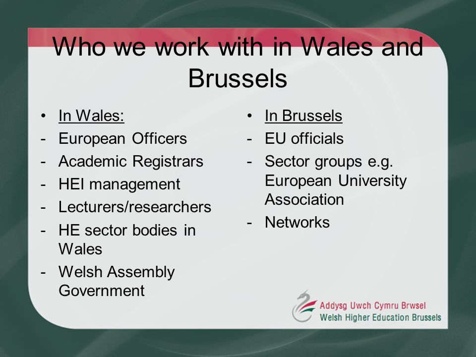 Who we work with in Wales and Brussels In Wales: -European Officers -Academic Registrars -HEI management -Lecturers/researchers -HE sector bodies in W