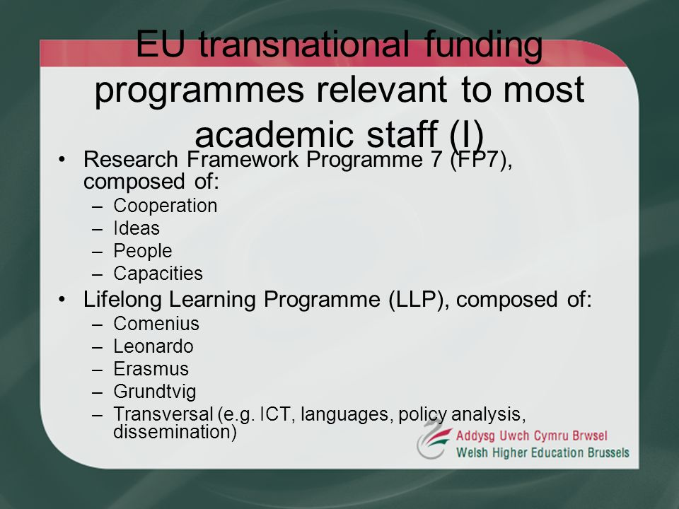 EU transnational funding programmes relevant to most academic staff (I) Research Framework Programme 7 (FP7), composed of: –Cooperation –Ideas –People
