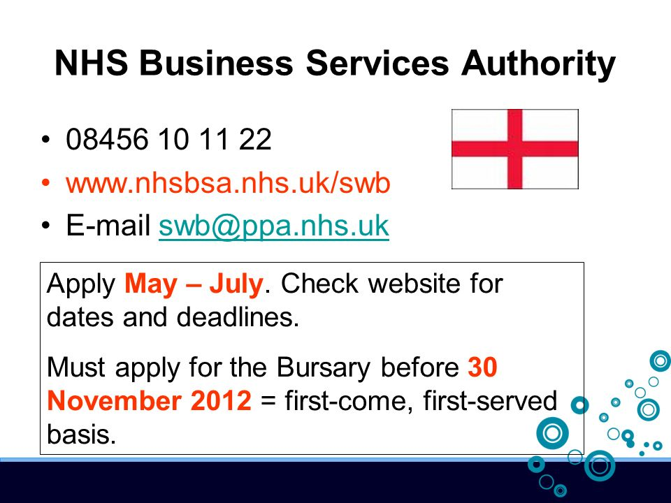 NHS Business Services Authority 08456 10 11 22 www.nhsbsa.nhs.uk/swb E-mail swb@ppa.nhs.uk Apply May – July. Check website for dates and deadlines. Mu