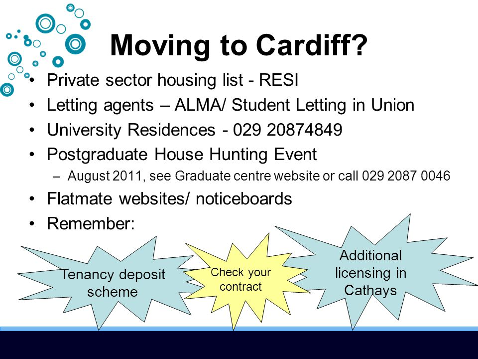 Moving to Cardiff? Private sector housing list - RESI Letting agents – ALMA/ Student Letting in Union University Residences - 029 20874849 Postgraduat