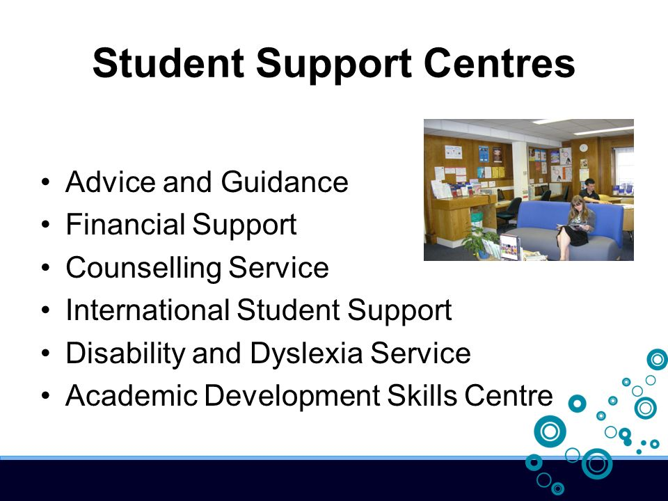 Student Support Centres Advice and Guidance Financial Support Counselling Service International Student Support Disability and Dyslexia Service Academ