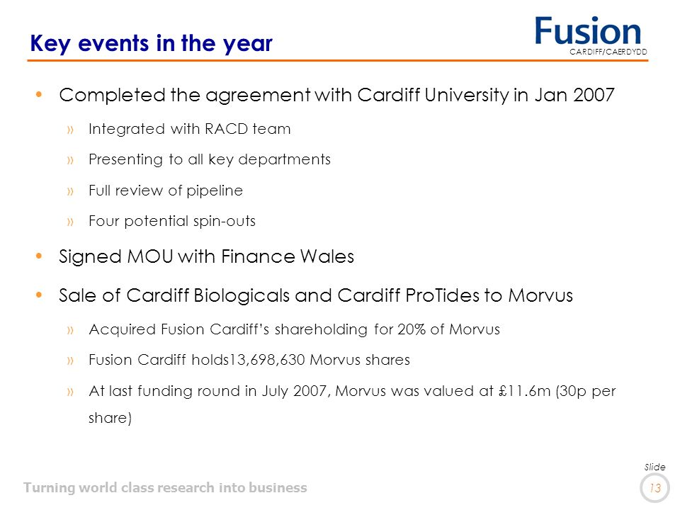 Turning world class research into business 13 Slide CARDIFF/CAERDYDD Key events in the year Completed the agreement with Cardiff University in Jan 2007 »Integrated with RACD team »Presenting to all key departments »Full review of pipeline »Four potential spin-outs Signed MOU with Finance Wales Sale of Cardiff Biologicals and Cardiff ProTides to Morvus »Acquired Fusion Cardiffs shareholding for 20% of Morvus »Fusion Cardiff holds13,698,630 Morvus shares »At last funding round in July 2007, Morvus was valued at £11.6m (30p per share)