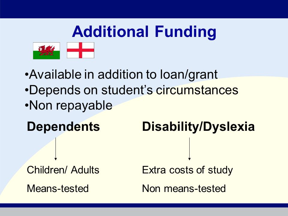 Additional Funding Available in addition to loan/grant Depends on students circumstances Non repayable DependentsDisability/Dyslexia Children/ AdultsExtra costs of study Means-testedNon means-tested