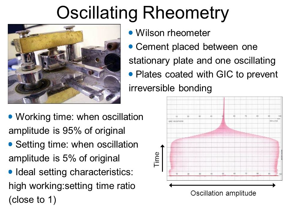 Oscillating Rheometry Wilson rheometer Cement placed between one stationary plate and one oscillating Plates coated with GIC to prevent irreversible bonding Working time: when oscillation amplitude is 95% of original Setting time: when oscillation amplitude is 5% of original Ideal setting characteristics: high working:setting time ratio (close to 1) Time Oscillation amplitude