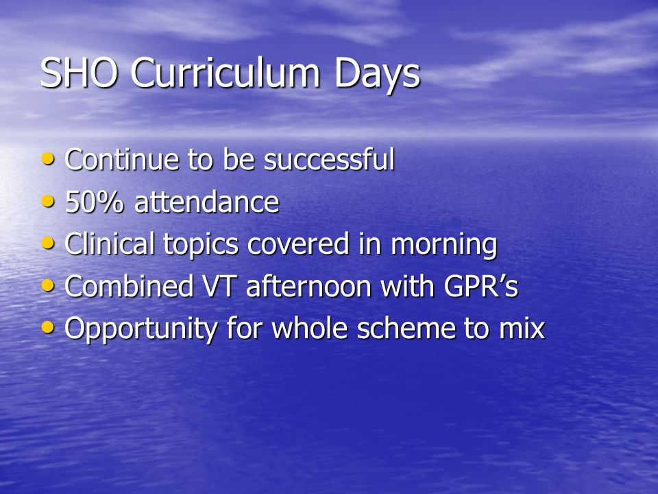 SHO Curriculum Days Continue to be successful Continue to be successful 50% attendance 50% attendance Clinical topics covered in morning Clinical topics covered in morning Combined VT afternoon with GPRs Combined VT afternoon with GPRs Opportunity for whole scheme to mix Opportunity for whole scheme to mix