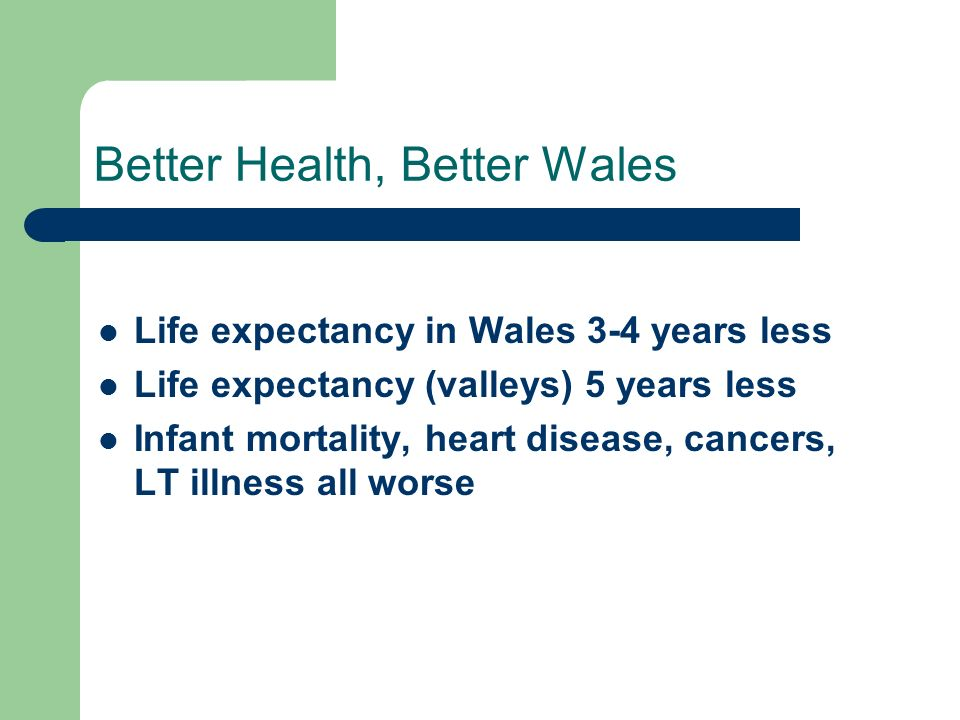 Better Health, Better Wales Life expectancy in Wales 3-4 years less Life expectancy (valleys) 5 years less Infant mortality, heart disease, cancers, LT illness all worse