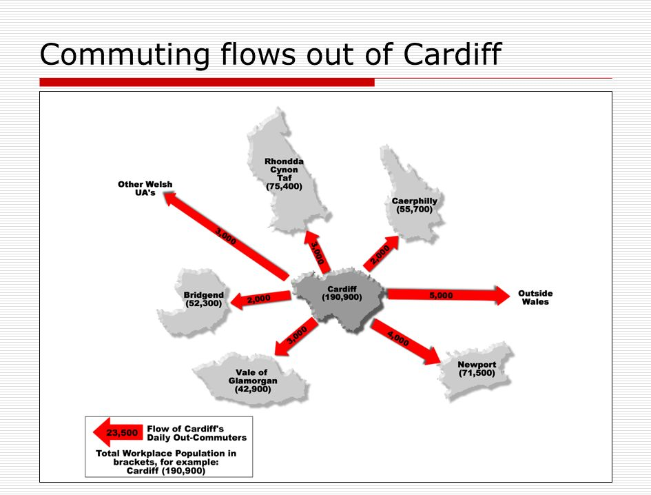 Commuting flows out of Cardiff