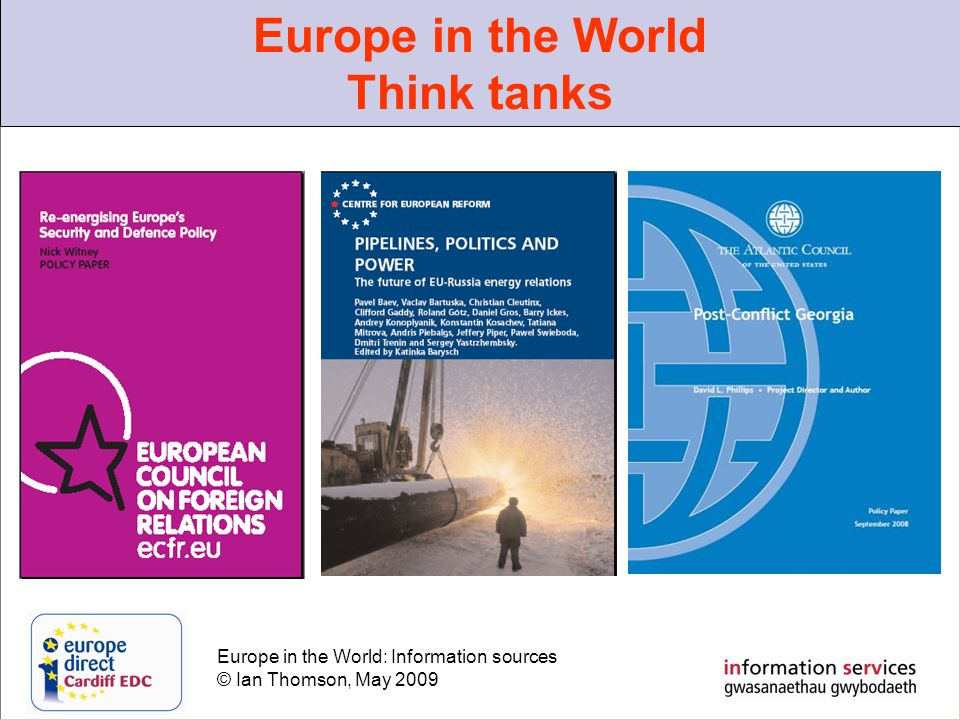 Europe in the World: Information sources © Ian Thomson, May 2009 Europe in the World Think tanks