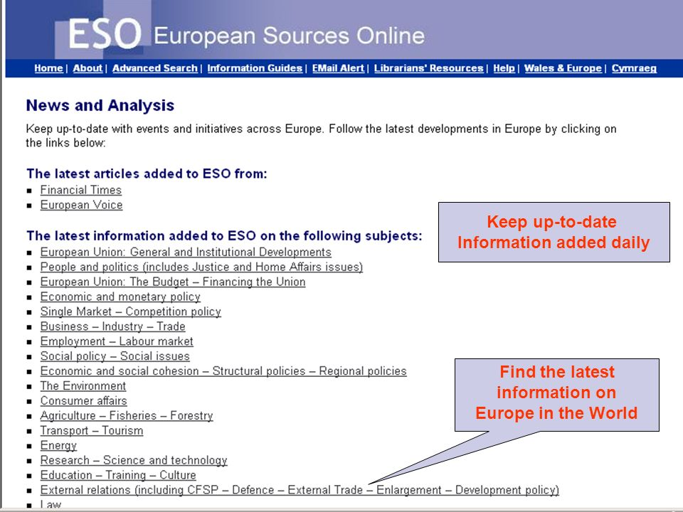 Europe in the World: Information sources © Ian Thomson, May 2009 EU i The European information network outside the EU Member States [mainly ex-EDCs and Depository Libraries + some new centres] No official list exists of this network.