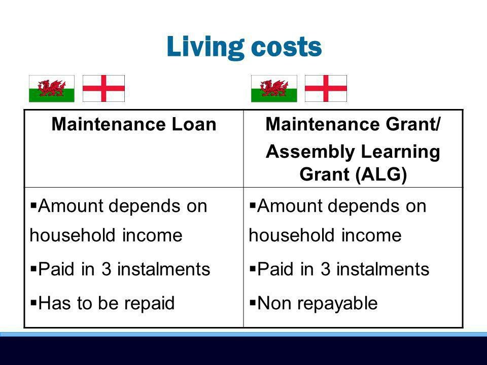 Living costs Maintenance LoanMaintenance Grant/ Assembly Learning Grant (ALG) Amount depends on household income Paid in 3 instalments Has to be repaid Amount depends on household income Paid in 3 instalments Non repayable