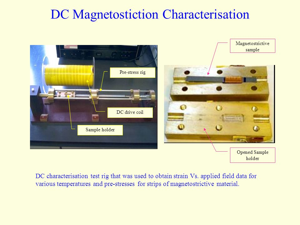 DC Magnetostiction Characterisation DC characterisation test rig that was used to obtain strain Vs.