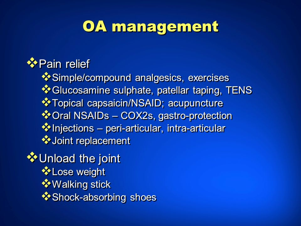 OA management Pain relief Simple/compound analgesics, exercises Glucosamine sulphate, patellar taping, TENS Topical capsaicin/NSAID; acupuncture Oral