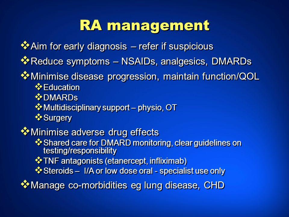 RA management Aim for early diagnosis – refer if suspicious Reduce symptoms – NSAIDs, analgesics, DMARDs Minimise disease progression, maintain functi