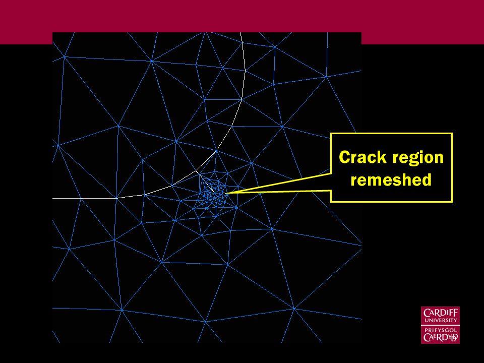 Crack region remeshed