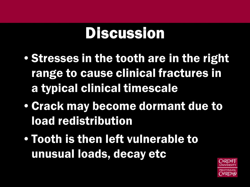 Discussion Stresses in the tooth are in the right range to cause clinical fractures in a typical clinical timescale Crack may become dormant due to lo