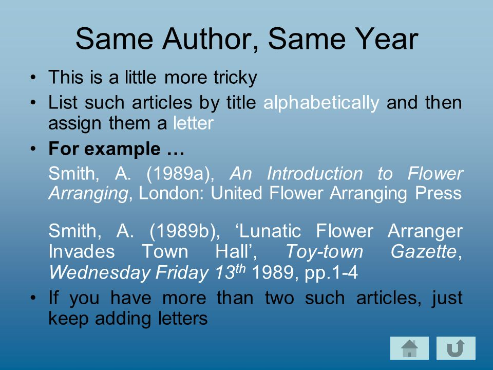 Same Author, Same Year This is a little more tricky List such articles by title alphabetically and then assign them a letter For example … Smith, A.