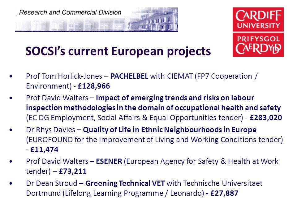 SOCSIs current European projects Prof Tom Horlick-Jones – PACHELBEL with CIEMAT (FP7 Cooperation / Environment) - £128,966 Prof David Walters – Impact