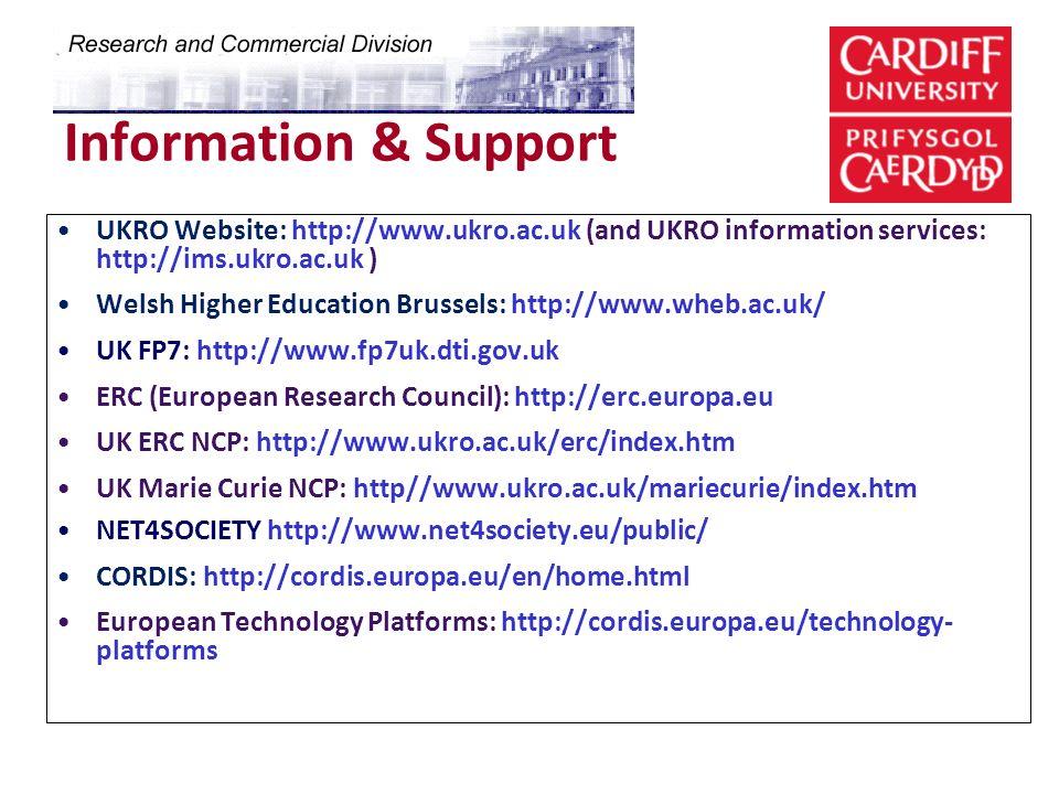 Information & Support UKRO Website: http://www.ukro.ac.uk (and UKRO information services: http://ims.ukro.ac.uk ) Welsh Higher Education Brussels: htt