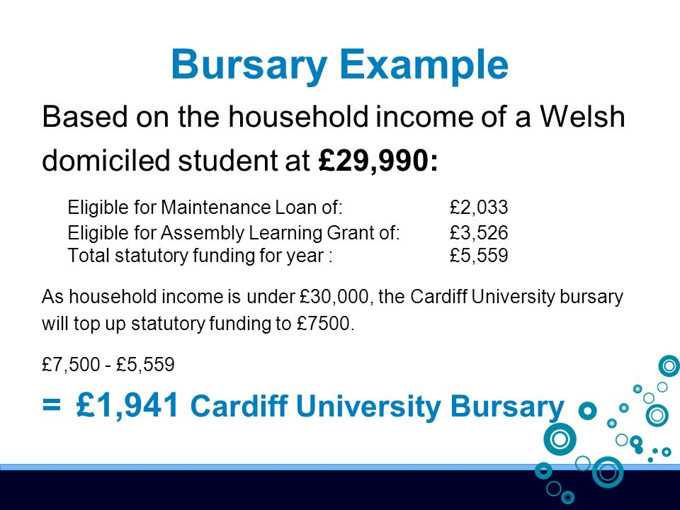 Bursary Example Based on the household income of a Welsh domiciled student at £29,990: Eligible for Maintenance Loan of: £2,033 Eligible for Assembly Learning Grant of: £3,526 Total statutory funding for year : £5,559 As household income is under £30,000, the Cardiff University bursary will top up statutory funding to £7500.