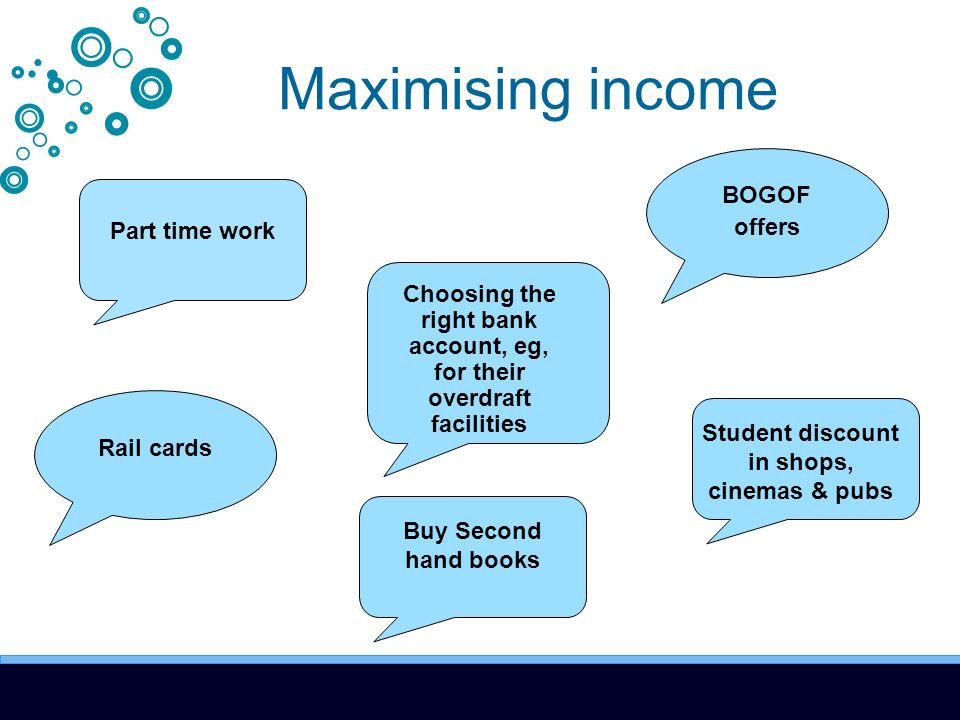 Maximising income Part time work Choosing the right bank account, eg, for their overdraft facilities Rail cards BOGOF offers Student discount in shops, cinemas & pubs Buy Second hand books