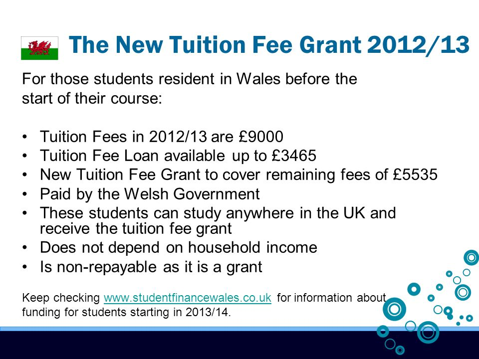 The New Tuition Fee Grant 2012/13 For those students resident in Wales before the start of their course: Tuition Fees in 2012/13 are £9000 Tuition Fee Loan available up to £3465 New Tuition Fee Grant to cover remaining fees of £5535 Paid by the Welsh Government These students can study anywhere in the UK and receive the tuition fee grant Does not depend on household income Is non-repayable as it is a grant Keep checking   for information aboutwww.studentfinancewales.co.uk funding for students starting in 2013/14.
