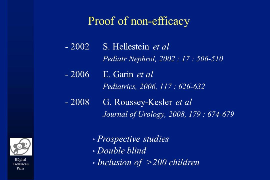 Hôpital Trousseau Paris - 2002 S. Hellestein et al Pediatr Nephrol, 2002 ; 17 : 506-510 - 2006 E. Garin et al Pediatrics, 2006, 117 : 626-632 - 2008 G