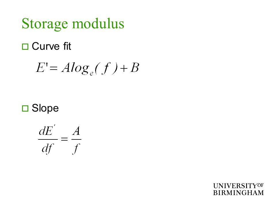 Storage modulus Curve fit Slope