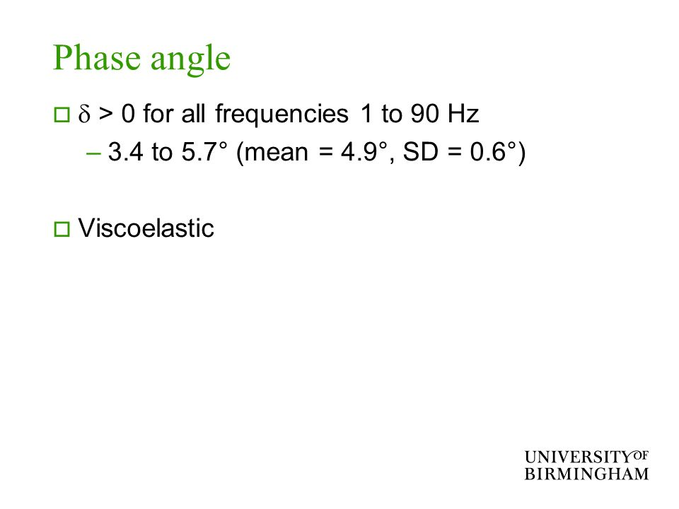 Phase angle > 0 for all frequencies 1 to 90 Hz –3.4 to 5.7° (mean = 4.9°, SD = 0.6°) Viscoelastic