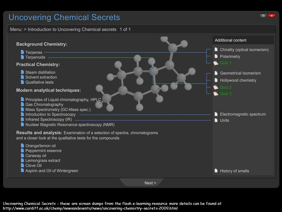The Uncovering Chemical Secrets project and e-learning resource was devised and produced by Peter Hollamby and Peter Edwards of the School of Chemistry, Cardiff University.