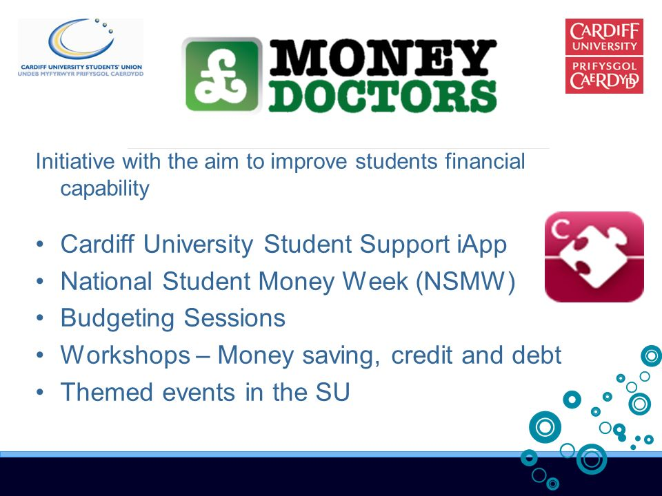 Initiative with the aim to improve students financial capability Cardiff University Student Support iApp National Student Money Week (NSMW) Budgeting Sessions Workshops – Money saving, credit and debt Themed events in the SU
