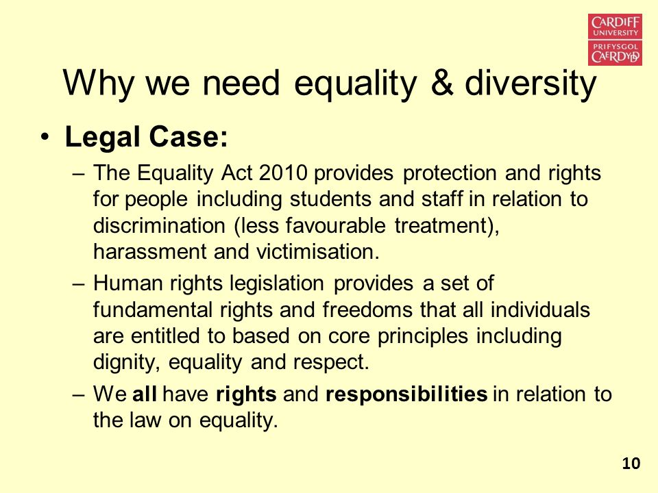 Why we need equality & diversity Legal Case: –The Equality Act 2010 provides protection and rights for people including students and staff in relation