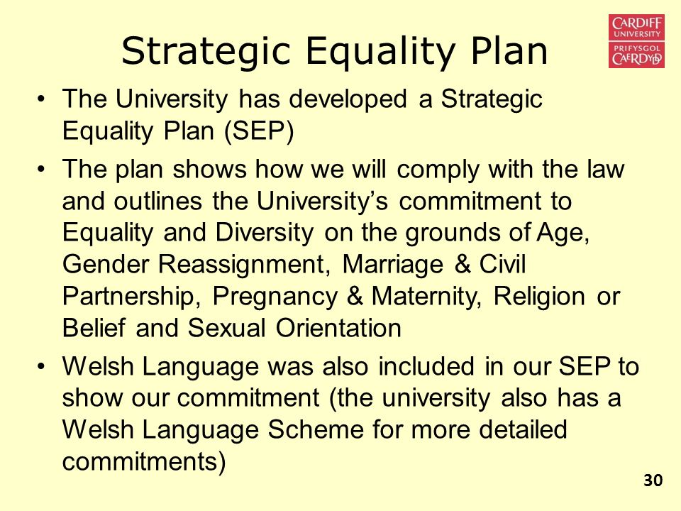 The University has developed a Strategic Equality Plan (SEP) The plan shows how we will comply with the law and outlines the Universitys commitment to