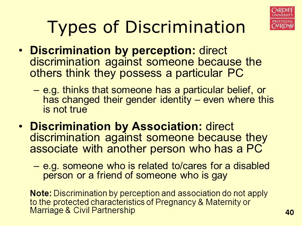 Types of Discrimination Discrimination by perception: direct discrimination against someone because the others think they possess a particular PC –e.g