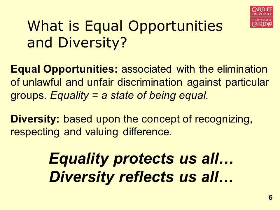 What is Equal Opportunities and Diversity? Equal Opportunities: associated with the elimination of unlawful and unfair discrimination against particul