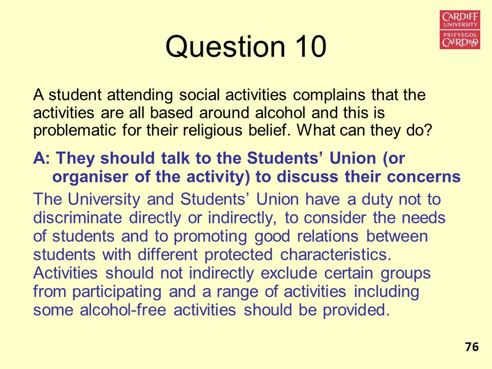 Question 10 A student attending social activities complains that the activities are all based around alcohol and this is problematic for their religio