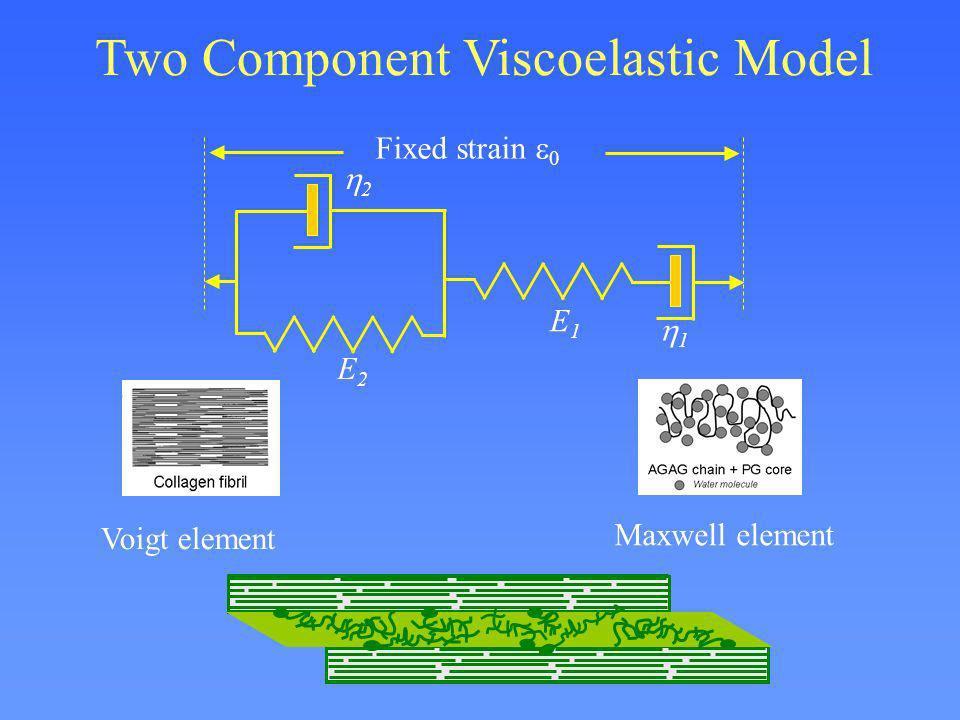 Two Component Viscoelastic Model E1E1 1 E2E2 2 Fixed strain 0 Voigt element Maxwell element