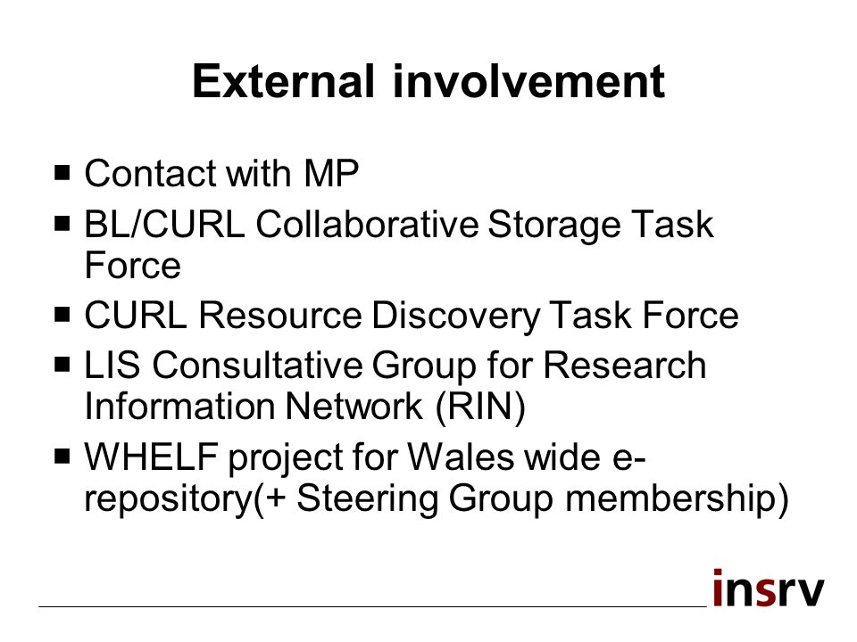 External involvement Contact with MP BL/CURL Collaborative Storage Task Force CURL Resource Discovery Task Force LIS Consultative Group for Research Information Network (RIN) WHELF project for Wales wide e- repository(+ Steering Group membership)