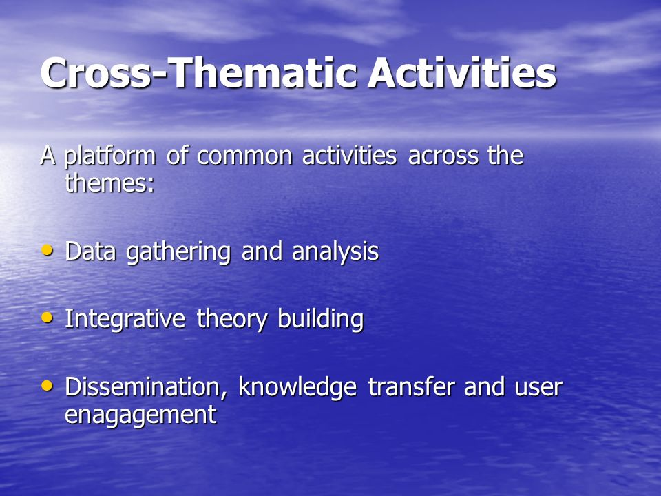 Cross-Thematic Activities A platform of common activities across the themes: Data gathering and analysis Data gathering and analysis Integrative theory building Integrative theory building Dissemination, knowledge transfer and user enagagement Dissemination, knowledge transfer and user enagagement