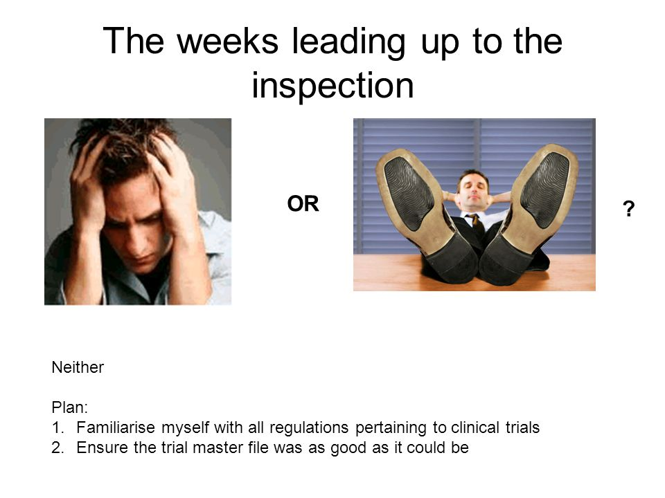 The weeks leading up to the inspection OR ? Neither Plan: 1.Familiarise myself with all regulations pertaining to clinical trials 2.Ensure the trial m